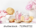 bath and spa with peony flowers ...   Shutterstock . vector #713963722