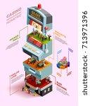 casino isometric infographics... | Shutterstock .eps vector #713971396