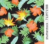 exotic abstract orange flowers... | Shutterstock . vector #713971588