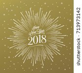 happy new year card with... | Shutterstock .eps vector #713973142