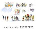 people  watercolor | Shutterstock . vector #713992795