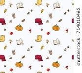 lovely autumn seamless pattern...   Shutterstock .eps vector #714010462
