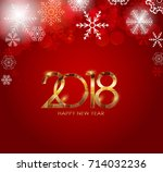 2018 new year gold glossy... | Shutterstock .eps vector #714032236