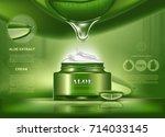 aloe vera cosmetic bottle for... | Shutterstock .eps vector #714033145
