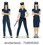 police women in sexy uniform.... | Shutterstock .eps vector #714045202