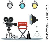 film directors chair with... | Shutterstock .eps vector #714046915