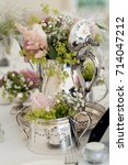 silver wedding jug filled with...   Shutterstock . vector #714047212