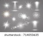 various glow light effects.... | Shutterstock .eps vector #714053635
