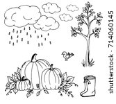 doodle autumn clouds the rain... | Shutterstock .eps vector #714060145