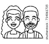 young couple cartoon | Shutterstock .eps vector #714061735