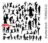 set of silhouettes of childhood.... | Shutterstock .eps vector #714063112