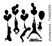 set silhouette of a child... | Shutterstock .eps vector #714063292