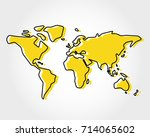 yellow world map  rectangle... | Shutterstock .eps vector #714065602
