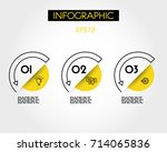 yellow arc infographic elements ... | Shutterstock .eps vector #714065836