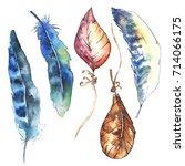 watercolor bird feather from... | Shutterstock . vector #714066175
