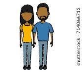 young couple cartoon | Shutterstock .eps vector #714066712