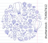 knowledge imagination fantasy... | Shutterstock .eps vector #714067612