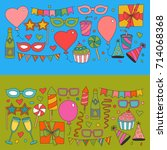 set of birthday party design... | Shutterstock .eps vector #714068368