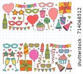 set of birthday party vector...   Shutterstock .eps vector #714068512