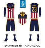 basketball jersey  shorts ... | Shutterstock .eps vector #714076702