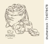 background with potatoes and... | Shutterstock .eps vector #714078478
