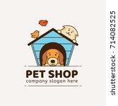 Stock vector logo for pet shop veterinary clinic animal shelter designed in a modern style vector lines 714082525
