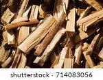 brown firewood background. wood ... | Shutterstock . vector #714083056