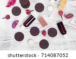 cosmetics cream lotions cookies ... | Shutterstock . vector #714087052