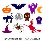 collection of halloween... | Shutterstock .eps vector #714093835