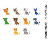 cat illustration set | Shutterstock .eps vector #714096682