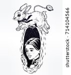 hand drawn beautiful portrait...   Shutterstock .eps vector #714104566