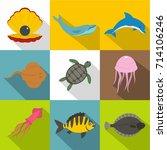water wildlife icon set. flat... | Shutterstock .eps vector #714106246