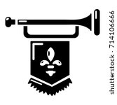 ancient trumpet with flag icon. ... | Shutterstock .eps vector #714106666