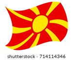 macedonia flag moved by the wind | Shutterstock .eps vector #714114346