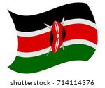 kenya flag moved by the wind | Shutterstock .eps vector #714114376