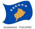 kosovo flag moved by the wind | Shutterstock .eps vector #714114502