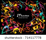 colorful music notes. vector...   Shutterstock .eps vector #714117778