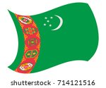 turkmenistan flag moved by the... | Shutterstock .eps vector #714121516