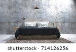 the modern of loft bedroom.3d... | Shutterstock . vector #714126256