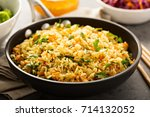 fried rice with vegetables ... | Shutterstock . vector #714132052