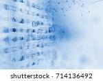 fintech icon  on abstract... | Shutterstock . vector #714136492