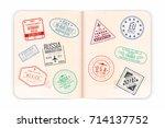 vector passport with stamps.... | Shutterstock .eps vector #714137752