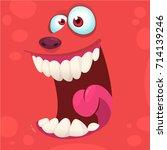 cartoon monster face isolated . ... | Shutterstock .eps vector #714139246