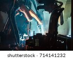 welding robots movement in a... | Shutterstock . vector #714141232