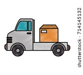 delivery truck with boxes | Shutterstock .eps vector #714145132