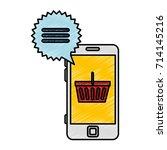 smartphone with market online...   Shutterstock .eps vector #714145216