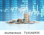 graph coins stock finance and... | Shutterstock . vector #714146935