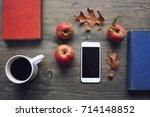 autumn season still life with...   Shutterstock . vector #714148852