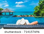 man traveler relaxing near... | Shutterstock . vector #714157696