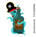 octopus pirate and bottle of... | Shutterstock .eps vector #714160066